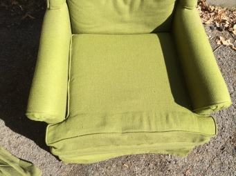 Pair-Green-upholstered-arm-chair-2-seat
